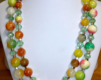 Candy Jade and Swarovski Crystal double strand beaded necklace