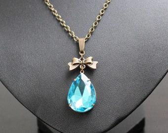 Necklace, vintage drops-aqua, necklace, necklace, pendant, steampunk, fantasy