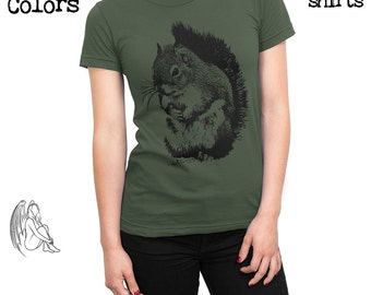 Women's Squirrel T-shirt, Tee, American Apparel, Bunny, Cute, Animal, Animals, Furry, Adorable, Cute Gift