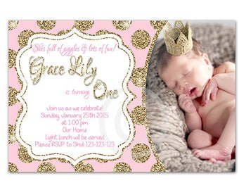 Pink and gold - first birthday - printable - DIY - digital file