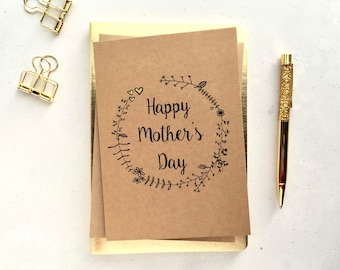 Mother's day card - card for mum - card for mom - Floral Mother's day card - Floral wreath card - Brown card