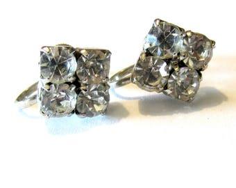 Vintage Rhinestone Screw-on Earrings
