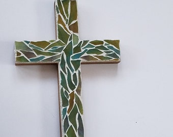 Girls Baptism / Baptism Gift / Easter Gift / Stained Glass Mosaic Wall Cross / Wooden Cross / Religious Gift / Baby Shower Gift