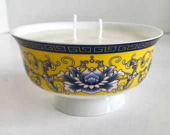 Coconut Scented Soy Wax Candle in Porcelain Yellow and Blue Lotus Flower Rice Bowl