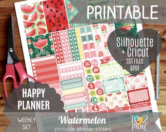 Watermelon Watercolor Weekly Printable Planner Stickers, Happy Planner Stickers, Weekly Stickers, Mambi Stickers - Cut files