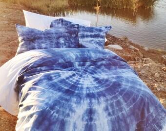 Blue Duvet Set // Bohemian Bedding (Twin/XL Twin, Full/Queen/King) Soft Bedding // Hand-dyed // Dorm Bedding // Boho Bedding