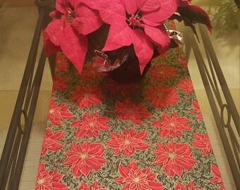 Christmas Table Runner,  Poinsettia Christmas Runner,  Red and Green Christmas Runner