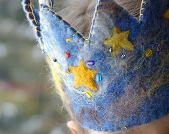 Star Birthday Crown:  Waldorf Inspired Wool Felt Crown (Stars and Space Galaxy Design)