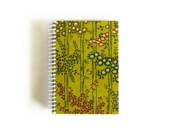 Bamboo Notebook A6 Spiral Bound - Draft, Writing Journal, Pocket, Back to School, Blank Sketchbook, 4x6 Inches, Diary, Cute Gifts Under 20