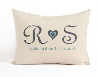 Customized Initials Pillow, Gift for girlfriend, Gift for boyfriend, Anniversary Gift, Cotton Anniversary, Throw Pillow, Housewarming