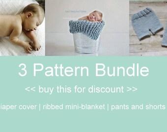 3 Pattern Bundle KNITTING PATTERNS - newborn, baby, instant download
