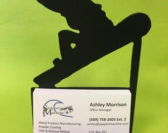 Snowboarder Desktop Business Card Holder