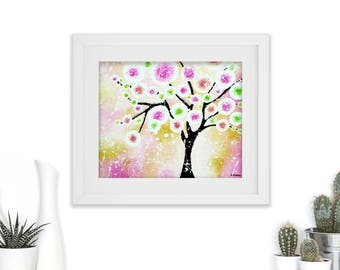 Spring Decor Wall Art, Whimsical Tree of Life Art Print, Bedroom Decor, Kitchen Decor, Gift for Her