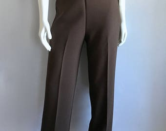 Vintage Women's 80's Unworn, Brown, Polyester Pants, High Waisted by G.W. Originals (M)