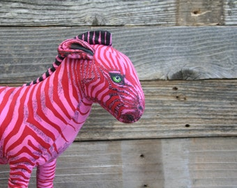 Pink and Red Striped Zebra / 1990 Determined Production