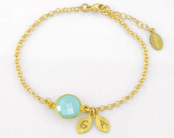 Personalized bridesmaid bracelet, bridal jewelry, Birthstone initial bracelet, Aqua Chalcedony bracelet, March Birthstone jewelry for mom