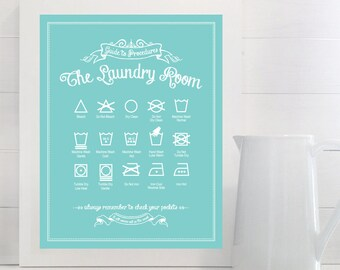 Guide to Procedures: The Laundry Room - print - Laundry, Symbols, Rules, Sign, Vintage, Decor, Art, Wall, Chalk, Chalkboard