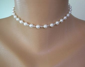 Single Strand Pearl Choker, SILVER Links, Pearl Necklace, White Pearl Choker, Single Strand Choker, Bridal Jewelry, Wedding Necklet