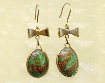 Mermaid-Italian Vintage Jewelry, Swarovski Crystal, Marbled oro