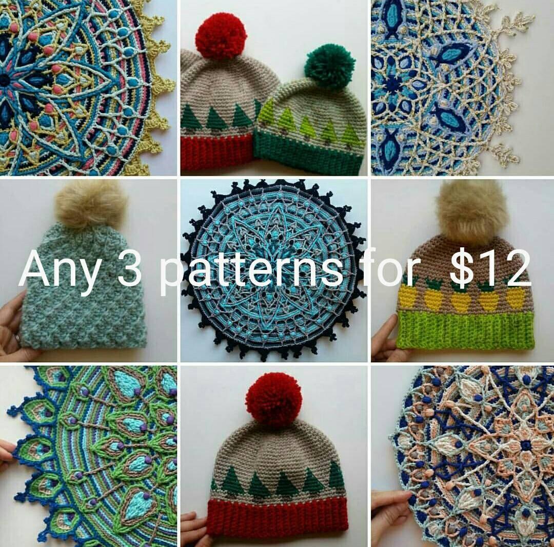 Crochet Pattern Value Pack, Overlay Crochet Mandala, Tunisian ...