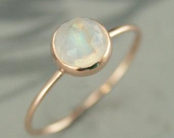 Rainbow Moonstone Ring 14K Rose Gold Moonstone Ring 6mm Rose Cut Moonstone Ring 14K Full Round Ring Bezel Set Ring Thin Gold Ring 14K Ring