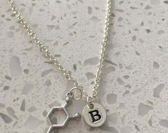 Dopamine initial necklace, dopamine jewelry, science necklace, chemistry jewelry, lab worker jewelry, gift for scientist, dopamine necklace