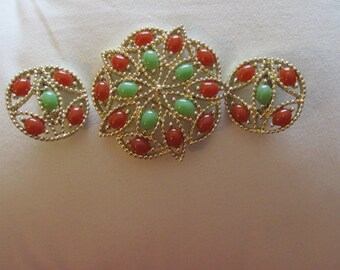 Sarah Coventry Brooch and Earrings Set  Vintage Accessories