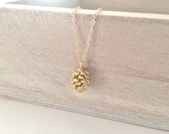 Gold Necklace, Pine Cone Necklace, Dainty Gold Necklace Best Friend Gifts Christmas Gift,  BUZZFEED, Rustic Wedding Bridesmaid Necklace Gift