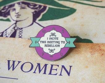 Rebellion Enamel Pin - Votes for Women Collection - Feminist Enamel Pin - Feminism - Lapel Pins - Girl Power - Suffragettes - Book Lover