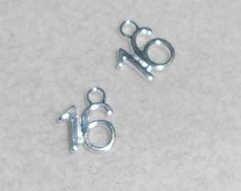"""Silver Number """"16""""  Charms"""