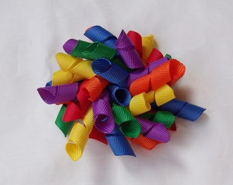 Rainbow Korker Bow Hair Clip - Red, Orange, Yellow, Green, Blue, Purple, Mini Korker, Large Korker