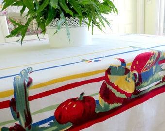 Large Vintage Wilendur Tablecloth w Southwestern Mexican or Spanish Design Sailcloth Tablecloth, 76 x 66 Cactus and Pottery Vintage Linens