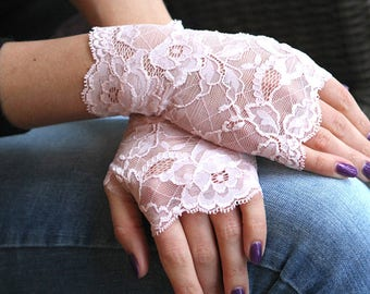 Stretch Lace Gloves in Light Rose. Stretch lace, fingerless lace gloves, Bride, bridesmaid, gift for her.  Ready to ship.