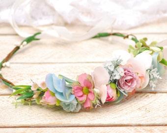Wedding flower crown Flower girl crown Flower hair wreath Pastel blush blue flower crown Floral crown Flower halo bridal flower crown