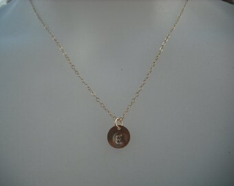 Personalized, Hand stamped initial disc necklace - 14K gold filled metal