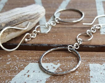 Extra Long Chain Earrings, Sterling Silver Drop Earrings, Dangle, Hammered Circles on Chain, Geometric Artisan Jewelry