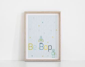 Robot Print, Boy Nursery Picture, Childrens Robot Art, Kids playroom Decor, Robot Wall Art, Baby Boy Gift, Robot Nursery, Baby Blue wall art