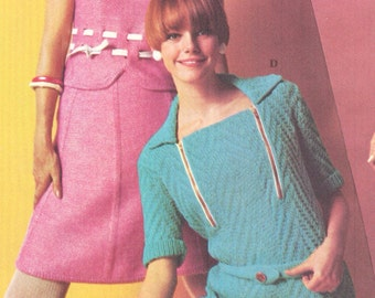 Vintage 1960s Zip Front Dress and 2 pc Dress Knitting Patterns  2 for 1 PDF 6808