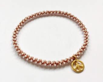 Stackable golden peace yoga charm bracelet Svadhisthana (sacrsl chakra)