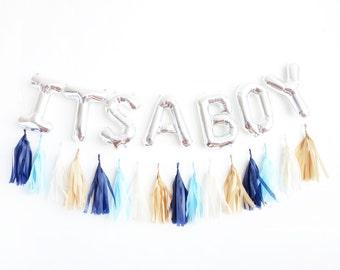 ITS A BOY balloons - silver mylar foil letter balloon - tassel garland set