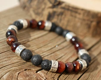 Men's Lava Rock and Red Tigers Eye Essential Oil Diffuser Mala Bracelet