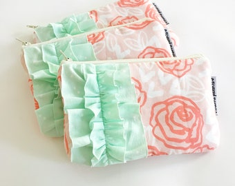 mini ruffle clutch --  coral+mint
