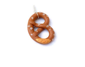 My pretzel salted German bread fimo gift for woman or child necklace