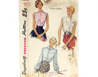 1940s Vintage Sewing Pattern - Simplicity 3092 - Blouses / Scalloped Collar / Mandarin Collar / Bishop Sleeves / Size 12