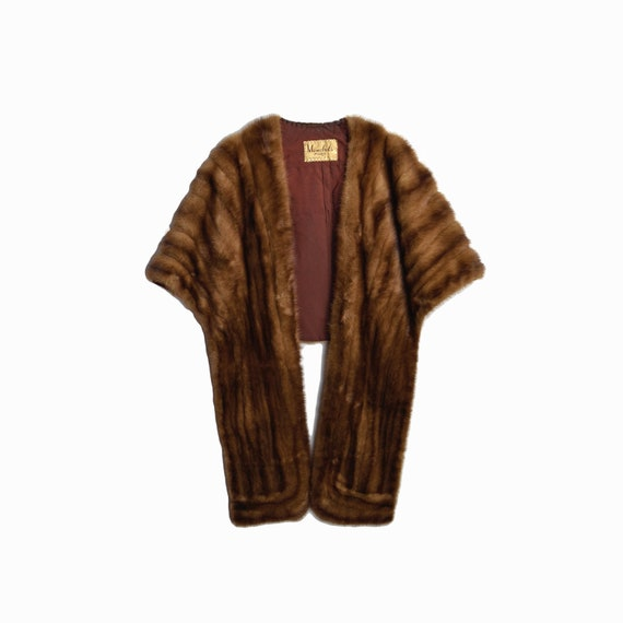 Vintage Brown Mink Stole / Vintage Fur Cape / Winter Wedding Cape / Vintage Mink Fur Coat - medium/large