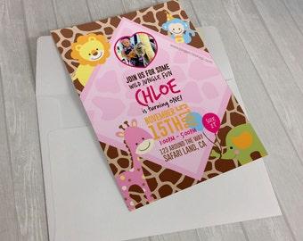Safari Invitation - Pink Safari Invitation - Girl Safari Birthday - Girl Jungle Theme Birthday