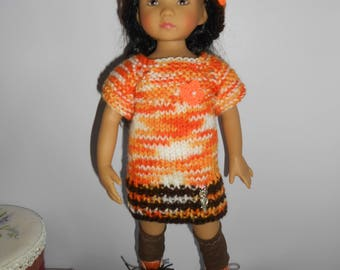 "Little Darling of Dianna Effner doll clothes, 33cm 14 ""- large knit sweater or dress wool orange"
