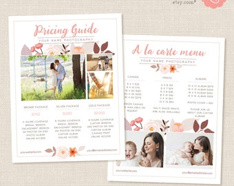 Photographers Price List Template, Floral Photography Pricing List, Pricing Template, Pricing Template, Wedding Price List, Pricing Guide