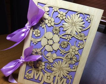 Beautiful laser cut birch wood 'Mothers Day' card