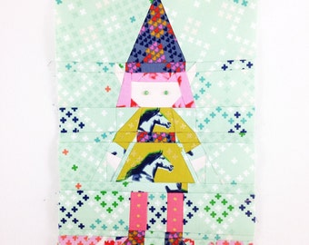 Gnome Doll or Girl with Skirt #4 PDF Paper Piecing Pattern